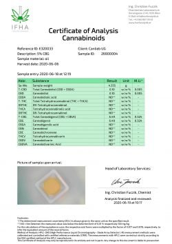 CBG 5% Cannabigerol in Refined Hemp Oil with Terpenes / Batch: E320033 / 0.0% THC - image E320033_Certificate-of-Analysis_26900004_20200606_1-scaled-250x354 on https://www.canlieb.de