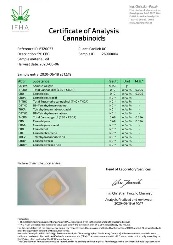 CBG 5% Cannabigerol in Refined Hemp Oil with Terpenes / Batch: E320033 / 0.0% THC - image E320033_Certificate-of-Analysis_26900004_20200606_1-scaled-550x778 on https://www.canlieb.de