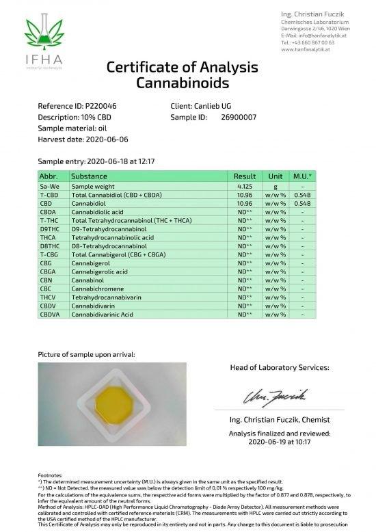 Animal CBD 10% in Organic Hemp Oil / Batches Lab Tested: 9.0% - 11.0% CBD / 0.0% THC - image P220046_Certificate-of-Analysis_26900007_20200606_1-scaled-550x778 on https://www.canlieb.de