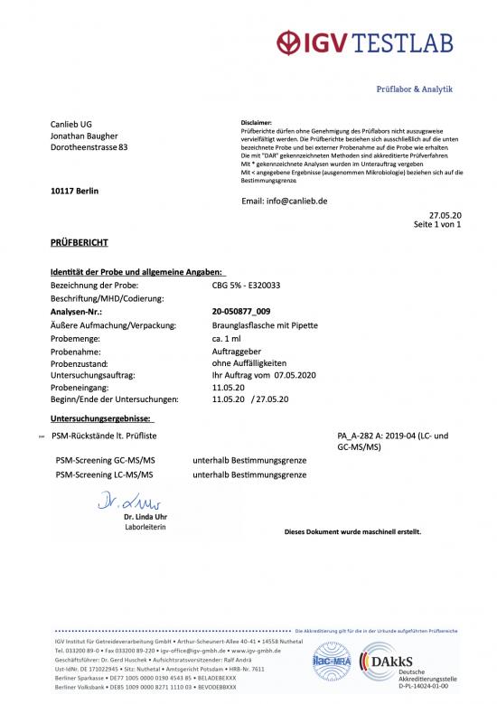 CBG 5% Cannabigerol in Refined Hemp Oil with Terpenes / Batch: E320033 / 0.0% THC - image Pesticide-Analysis-550x779 on https://www.canlieb.de
