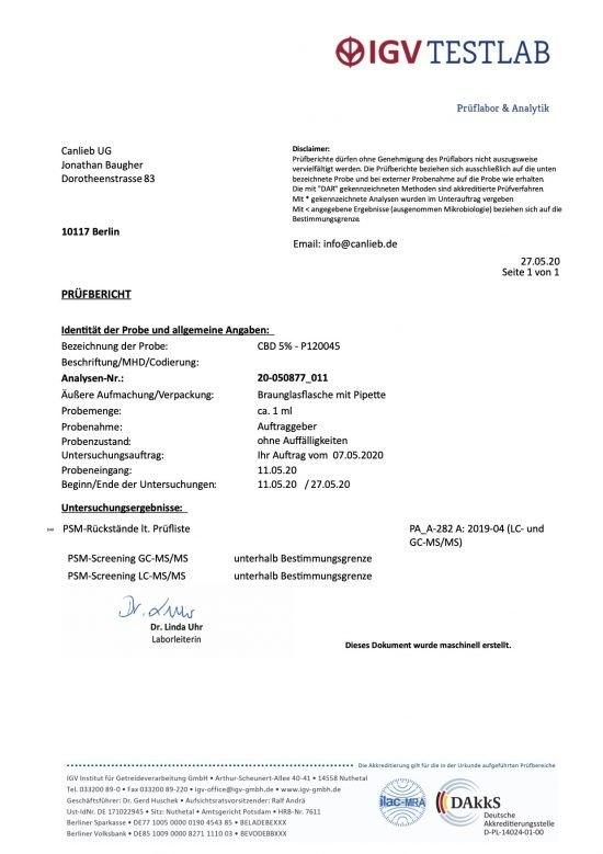Animal CBD 5% in Organic Hemp Oil / Batches Lab Tested: 4% - 6% CBD / 0.0% THC - image CBD-5-Pesticide-Analysis-550x779 on https://www.canlieb.de