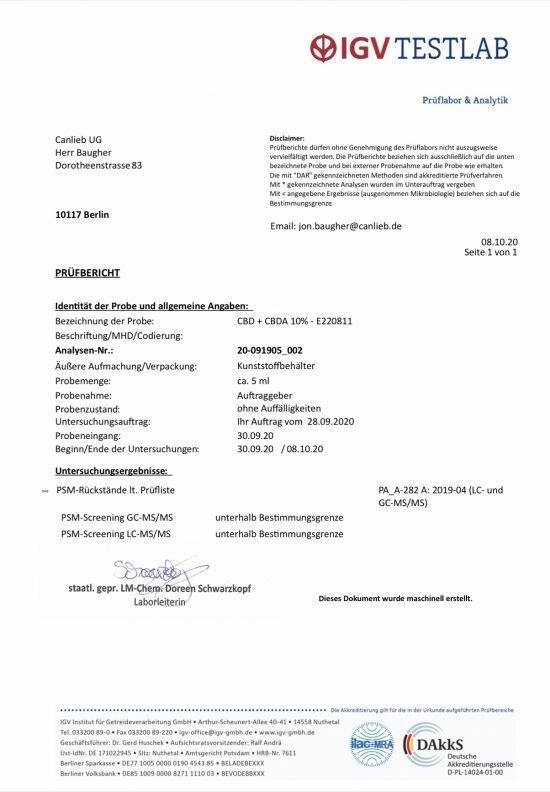 CBD + CBDA 10% Full Spectrum Organic Hemp Oil / Batches Lab Tested 8.5% - 11.5% CBD / <0.2% THC - image CBD_CBDA_10_E220811-550x792 on https://www.canlieb.de
