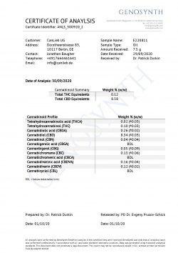 CBD + CBDA 10% Full Spectrum Organic Hemp Oil / Batches Lab Tested 8.5% - 11.5% CBD / <0.2% THC - image CBD_CBDA_10_Profile_Analysis_E220811-250x354 on https://www.canlieb.de
