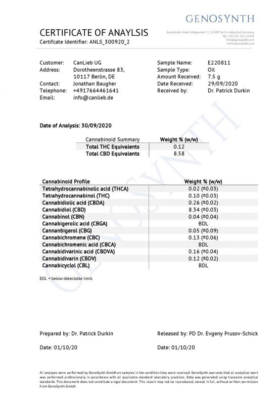 CBD + CBDA 10% Full Spectrum Organic Hemp Oil / Batches Lab Tested 8.5% - 11.5% CBD / <0.2% THC - image CBD_CBDA_10_Profile_Analysis_E220811-550x778 on https://www.canlieb.de