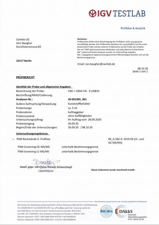 CBD + CBDA 5% Full Spectrum in Organic Hemp Oil / Batches Lab Tested: 3.0% - 7.0% CBD/ <0.2% THC - image CBD_CBDA_5_E120810-550x781 on https://www.canlieb.de