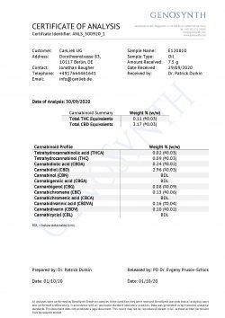 CBD + CBDA 5% Full Spectrum in Organic Hemp Oil / Batches Lab Tested: 3.0% - 7.0% CBD/ <0.2% THC - image CBD_CBDA_5_Profile_Analysis_E120810-250x354 on https://www.canlieb.de