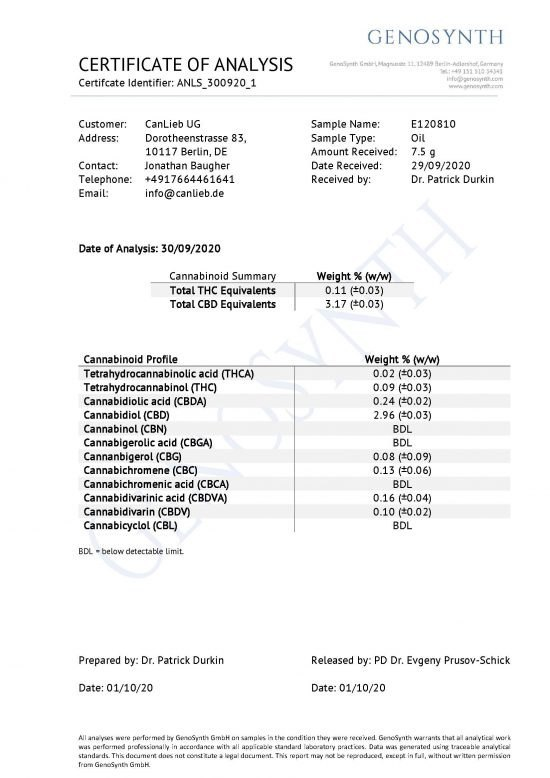 CBD + CBDA 5% Full Spectrum in Organic Hemp Oil / Batches Lab Tested: 3.0% - 7.0% CBD/ <0.2% THC - image CBD_CBDA_5_Profile_Analysis_E120810-550x778 on https://www.canlieb.de
